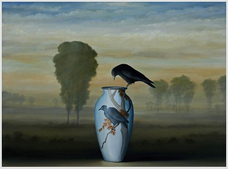 DAVID KROLL, TWO CROWS oil on linen