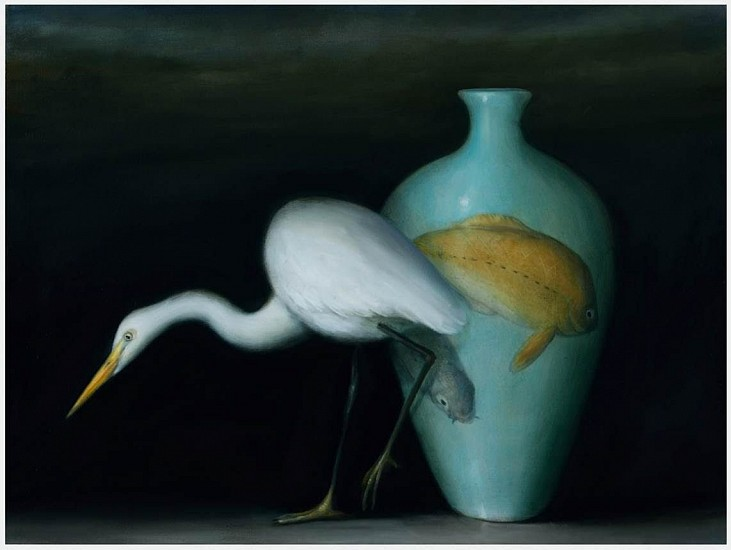 DAVID KROLL, EGRET AND KOI VASE oil on linen