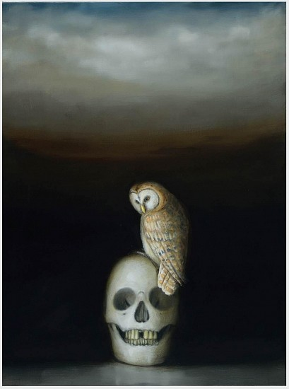 DAVID KROLL, OWL AND SKULL oil on linen