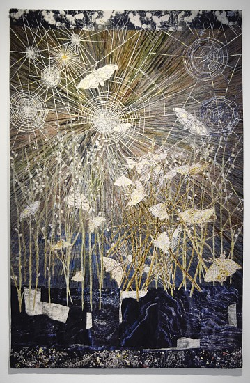 KIKI SMITH, SPINNERS (MOTHS & SPIDER WEBS)  SP1 cotton Jacquard tapestry, hand painting and gold leaf