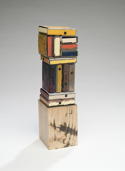 TED LARSEN, STAND UP, BUDDHA (H) salvage steel, rivets wood