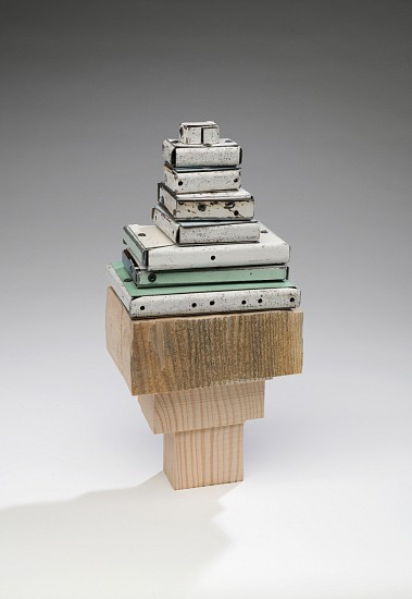 TED LARSEN, STAND UP, BUDDHA (F) salvage steel, rivets wood