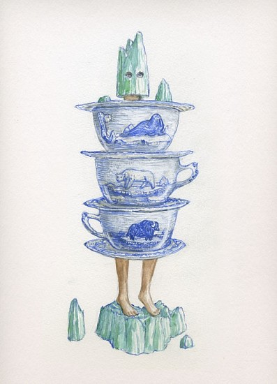 KAHN + SELESNICK, MADAME LULU'S BOOK OF FATE TAROT COSTUME DRAWING: THE PAGE OF CUPS watercolor on paper