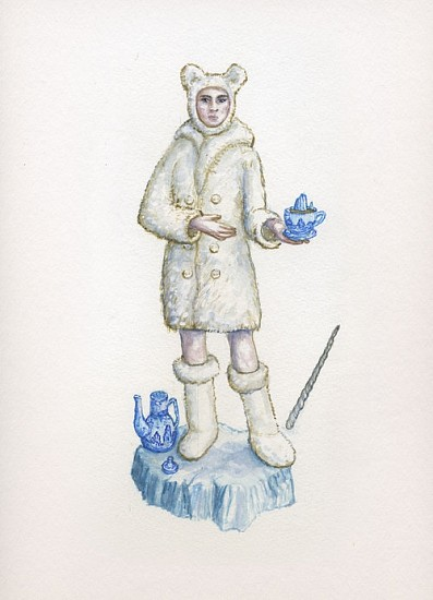 KAHN + SELESNICK, MADAME LULU'S BOOK OF FATE TAROT COSTUME DRAWING: QUEEN OF CUPS watercolor on paper