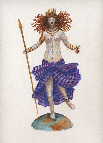 KAHN + SELESNICK, MADAME LULU'S BOOK OF FATE TAROT COSTUME DRAWING: QUEEN OF SWORDS watercolor on paper