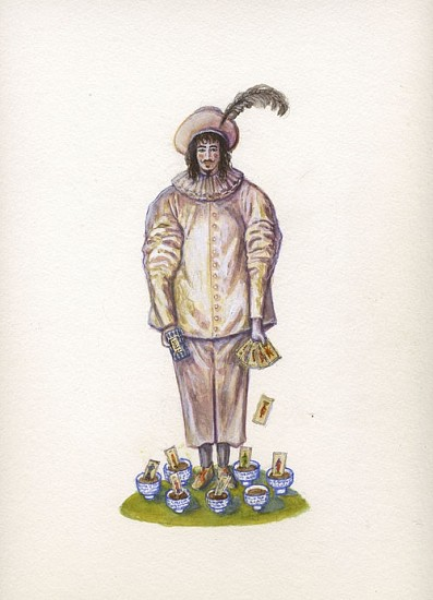 KAHN + SELESNICK, MADAME LULU'S BOOK OF FATE TAROT COSTUME DRAWING: 7 OF CUPS watercolor on paper