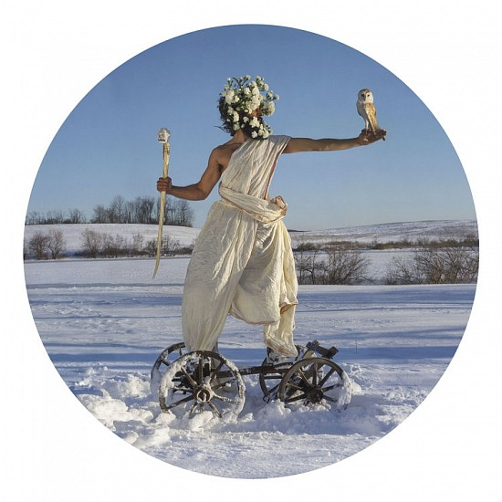 KAHN + SELESNICK, THE GOD CART Ed. 5 pigment print face-mounted on round acrylic sheet