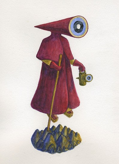 KAHN + SELESNICK, MADAME LULU'S BOOK OF FATE TAROT COSTUME DRAWING: THE HERMIT watercolor on paper