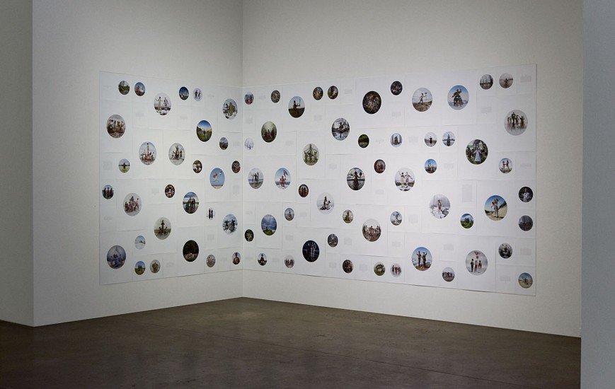 "KAHN + SELESNICK, ""Madame Lulu's Book of Fate"" augury text wall and photographs. Circular photographs are available as individual dye-sublimation on aluminum prints 30 or 40 inches around or as round archival pigment prints on paper"