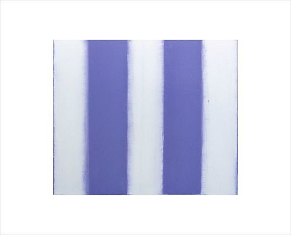 BETTY MERKEN, STRIPES, VIOLET #03-15-30 Oil monotype on Rives BFK paper