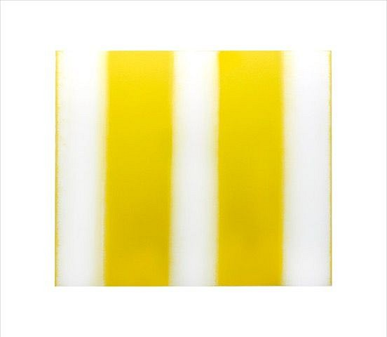 BETTY MERKEN, STRIPES, YELLOW 02.16.05 Oil monotype on Rives BFK paper