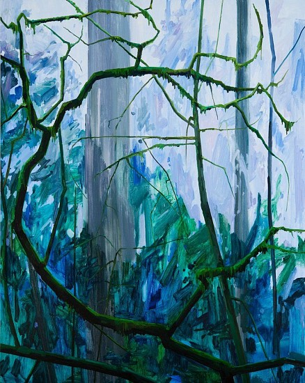 CLAIRE SHERMAN, TREE AND MOSS oil on canvas