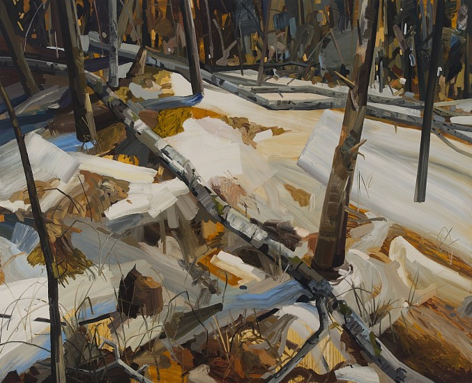 CLAIRE SHERMAN, SNOW AND WOODS oil on canvas