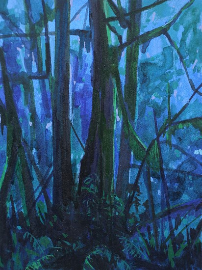 CLAIRE SHERMAN, TREES AND NIGHT mixed media on paper