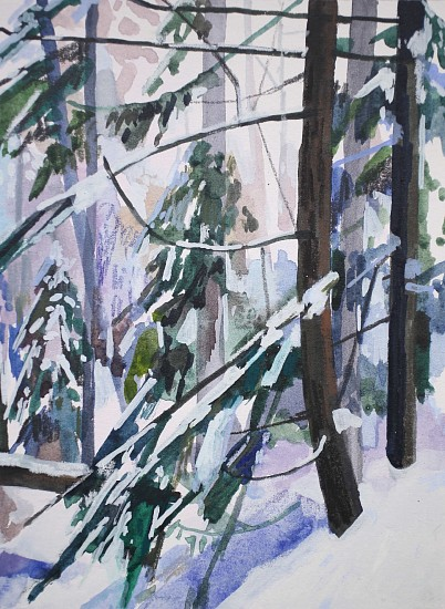 CLAIRE SHERMAN, SNOW AND TREES mixed media on paper