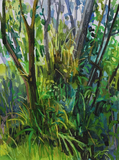 CLAIRE SHERMAN, TREES AND GRASS mixed media on paper